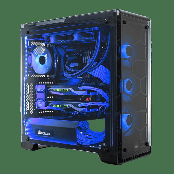 Blue LED fan gaming PC case