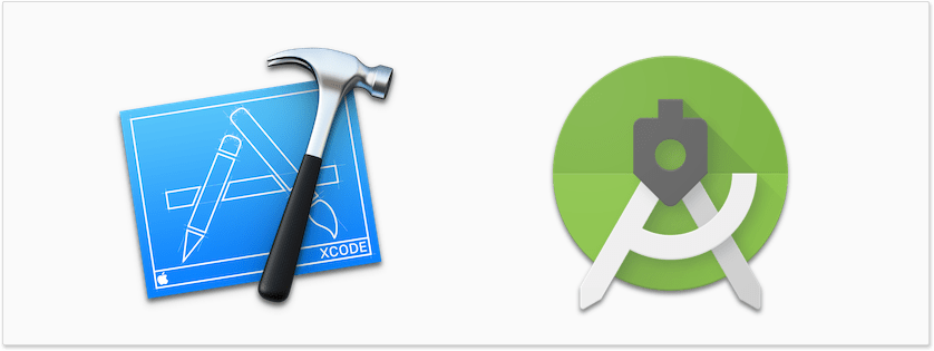 Picture of Xcode app icon and the app icon for Android Studio