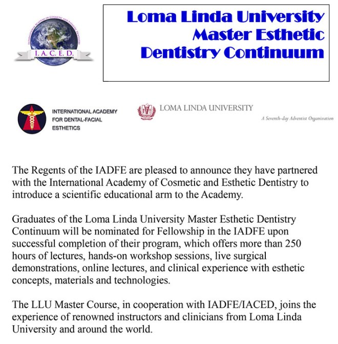IADFE/IACED Loma Linda University Master Course