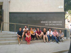 Representants de les entitats ecologistes abans de la reunió amb el Síndic de Greuges al juliol de 2016.