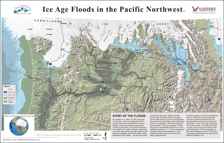Areal Scenario Map of the Ice Age Floods - Click to View Larger Image
