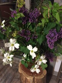 Another beautiful arrangement by Jane with Dogwood and Lilacs from the farm
