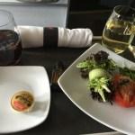 Salad, wine