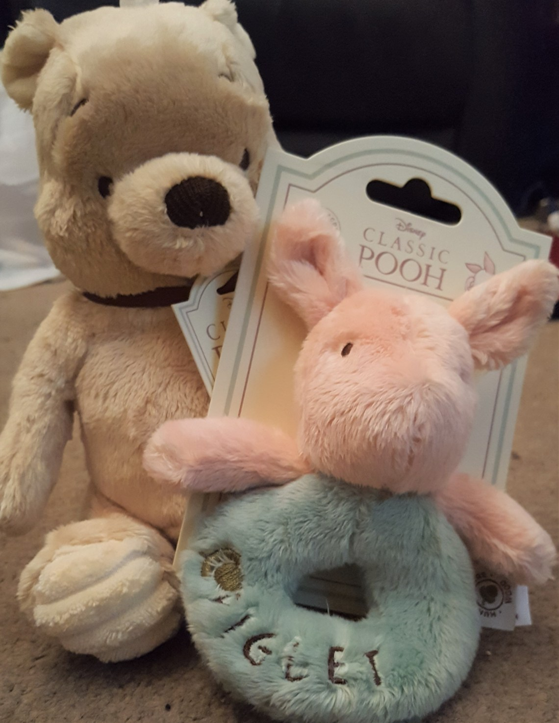 winnie the pooh soft toy and piglet rattle