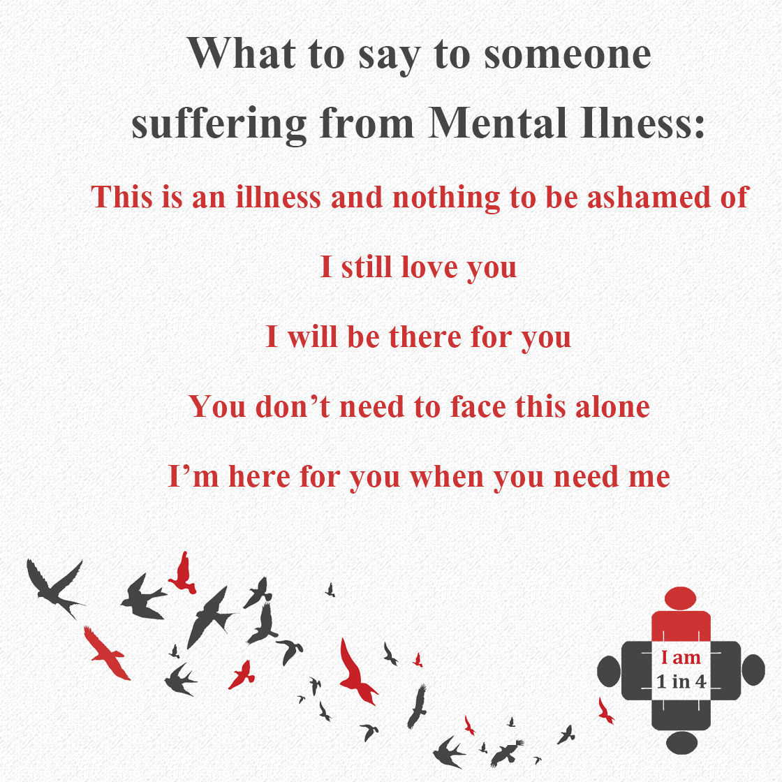 what to say to someone suffering from mental illness