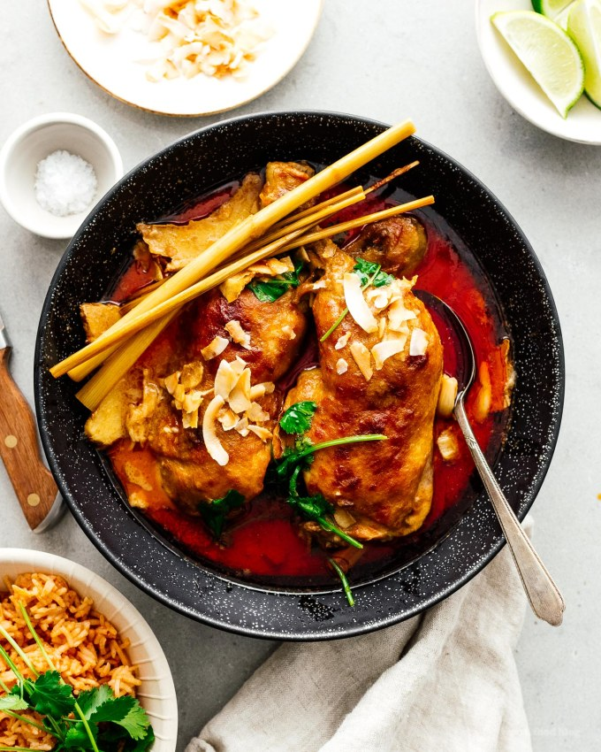 Easy Weeknight Coconut Curry Braised Chicken Legs Recipe | www.iamafoodblog.com