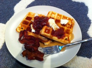 waffles and fig jam