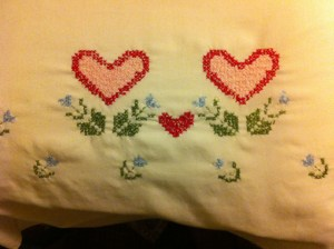 stamped cross stitch pillow