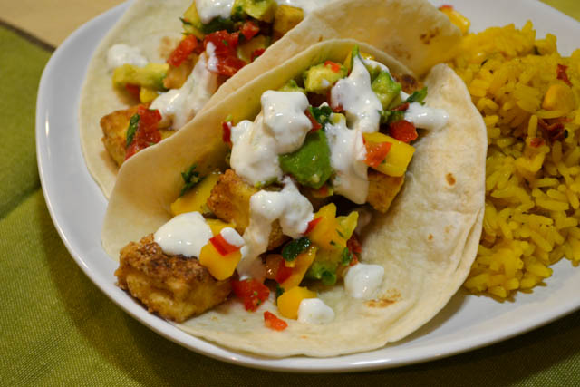 Crispy Tofu Tacos with a Mango Salsa-2