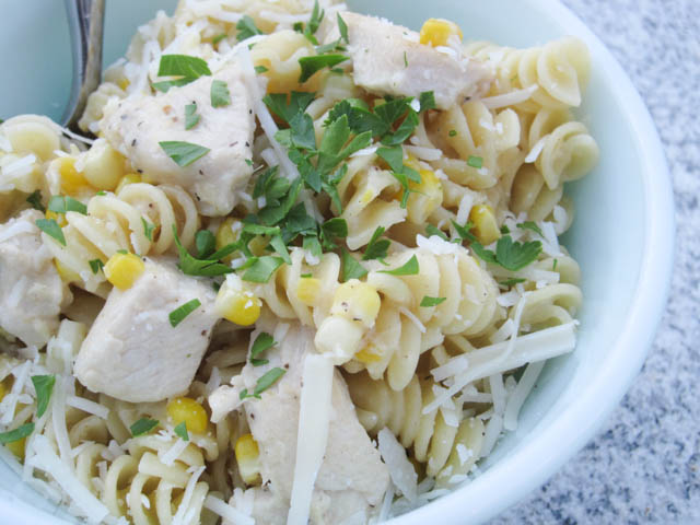 Fusilli with Fresh Corn and Chicken in a Garlic Cream Sauce-01