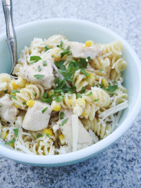 Fusilli with Fresh Corn and Chicken in a Garlic Cream Sauce-02