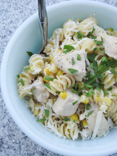 Fusilli with Fresh Corn and Chicken in a Garlic Cream Sauce