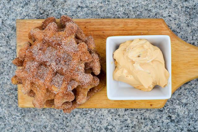 Churro Waffles with Dulce De Leche Whipped Cream-5