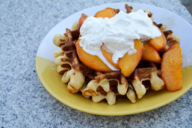 Sour Cream Waffles with Peach Compote-1