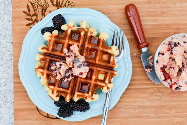 Overnight Yeast Waffles Blackberry Compound Butter-1