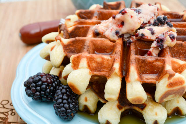 Overnight Yeast Waffles Blackberry Compound Butter-3