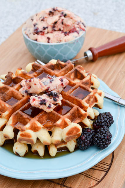 Overnight Yeast Waffles Blackberry Compound Butter