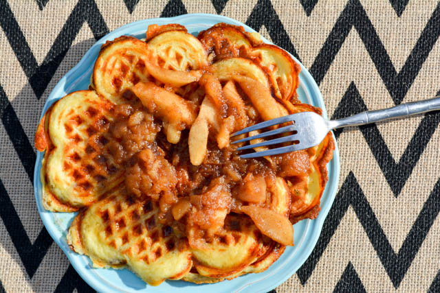 Bacon and Cheese Buttermilk Waffles with Apple Compote-1