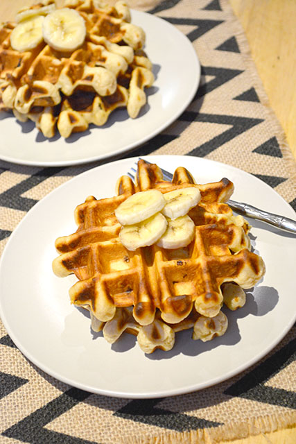 Peanut Butter Banana Waffles For Two