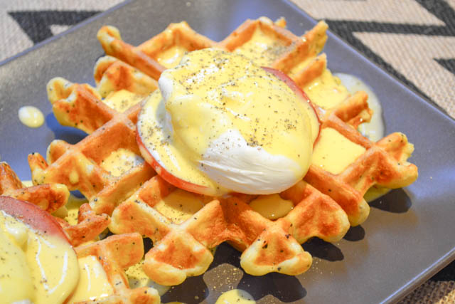Everything Bagel Waffle Eggs Benedict