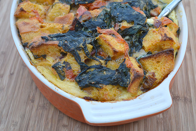 Cheesy, Bacon, Tomato, and Spinach Strata_04