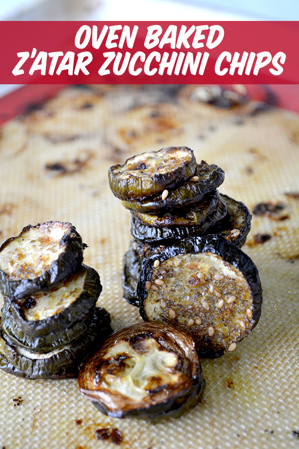 Oven Baked Za'atar Zucchini Chips- flavorful, healthy zucchini chips you can easily whip up to enjoy summers zucchini bounty.