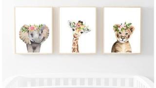 Nursery Art - Set of Lion, Elephant, Zebra with Pink Flower Crowns