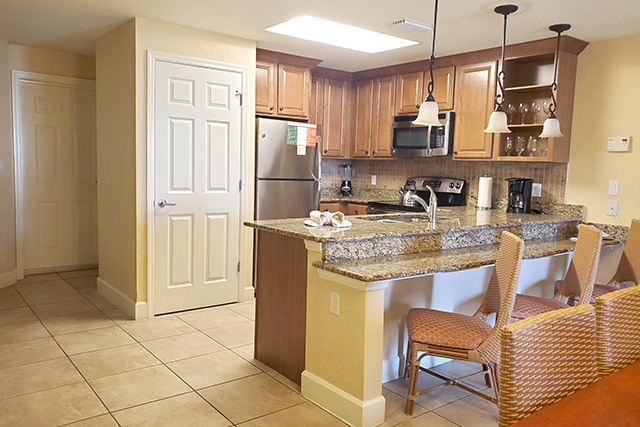 Kitchen area in a One Bedroom Grand Villa in Westgate Town Center Resort in Florida