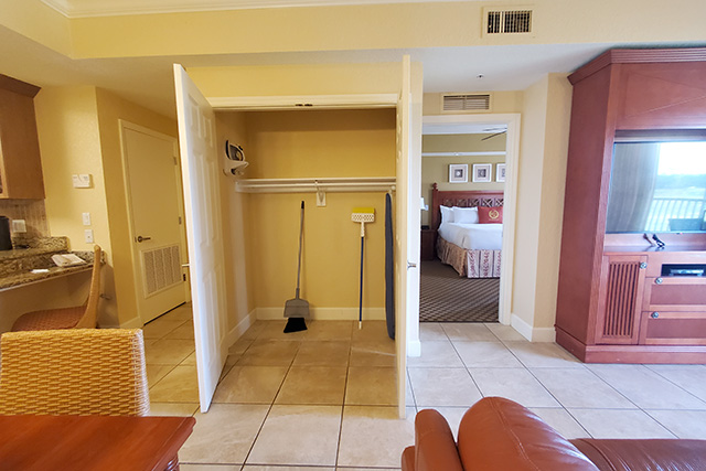 open closet in the living area of the One Bedroom Grand Villas at Westgate Town Center Resort