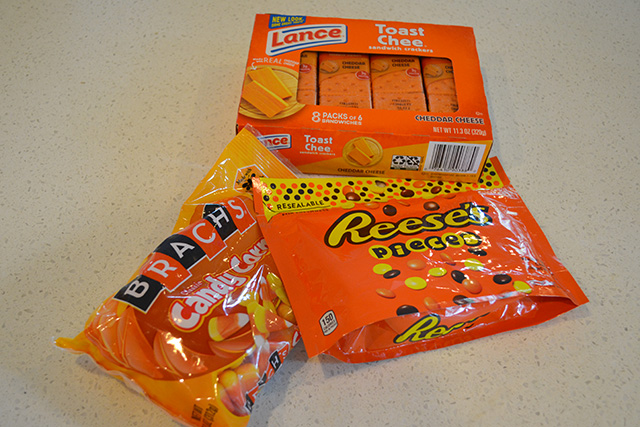 candy corn, Reese's Pieces and cheese sandwich crackers