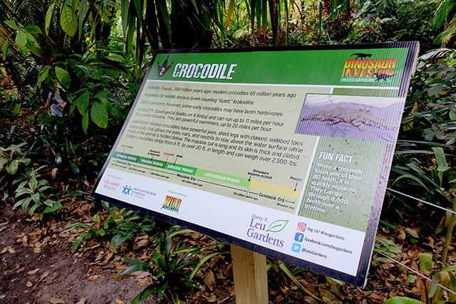 Info sign at Dinosaur Invasion at Leu Gardens