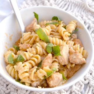 White bowl of rotini pasta with diced chicken in a creamy sauce that was cooked in an Instant Pot
