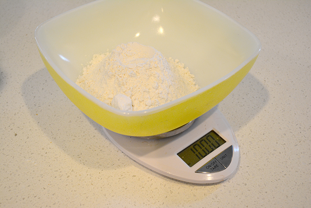 flour in bowl on food scale