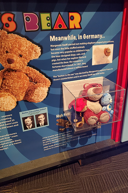 Display of teddy bears over the years in an exhibit at Jacksonville MOSH