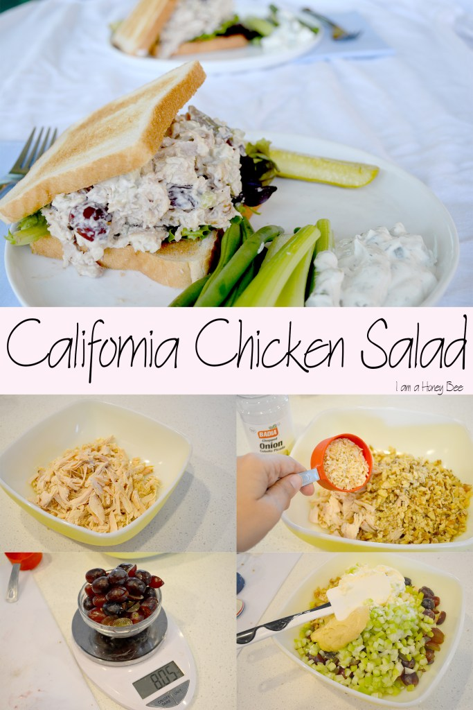 Collage of chicken salad pictures.