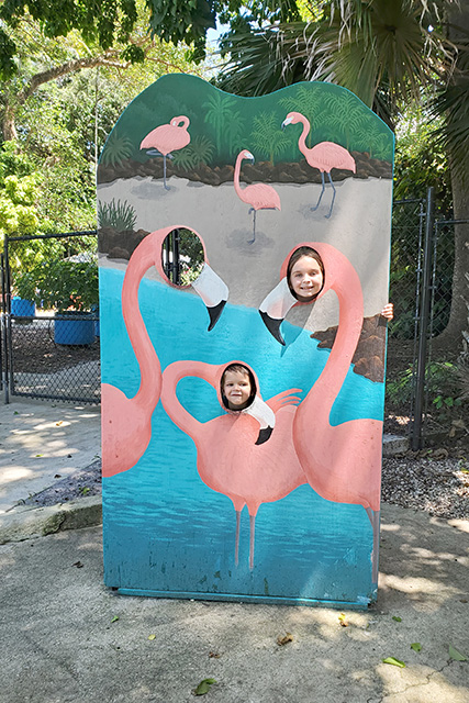 Kids peaking through cut outs on a flamingo sign at Flamingo Gardens.