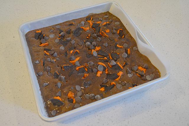 Pan of brownies prior to baking.