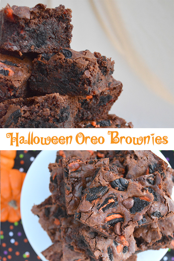 Collage of pictures of Halloween Oreo Brownies showing the rich chocolaty treat.
