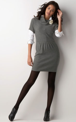Cowl nexk sweater dress