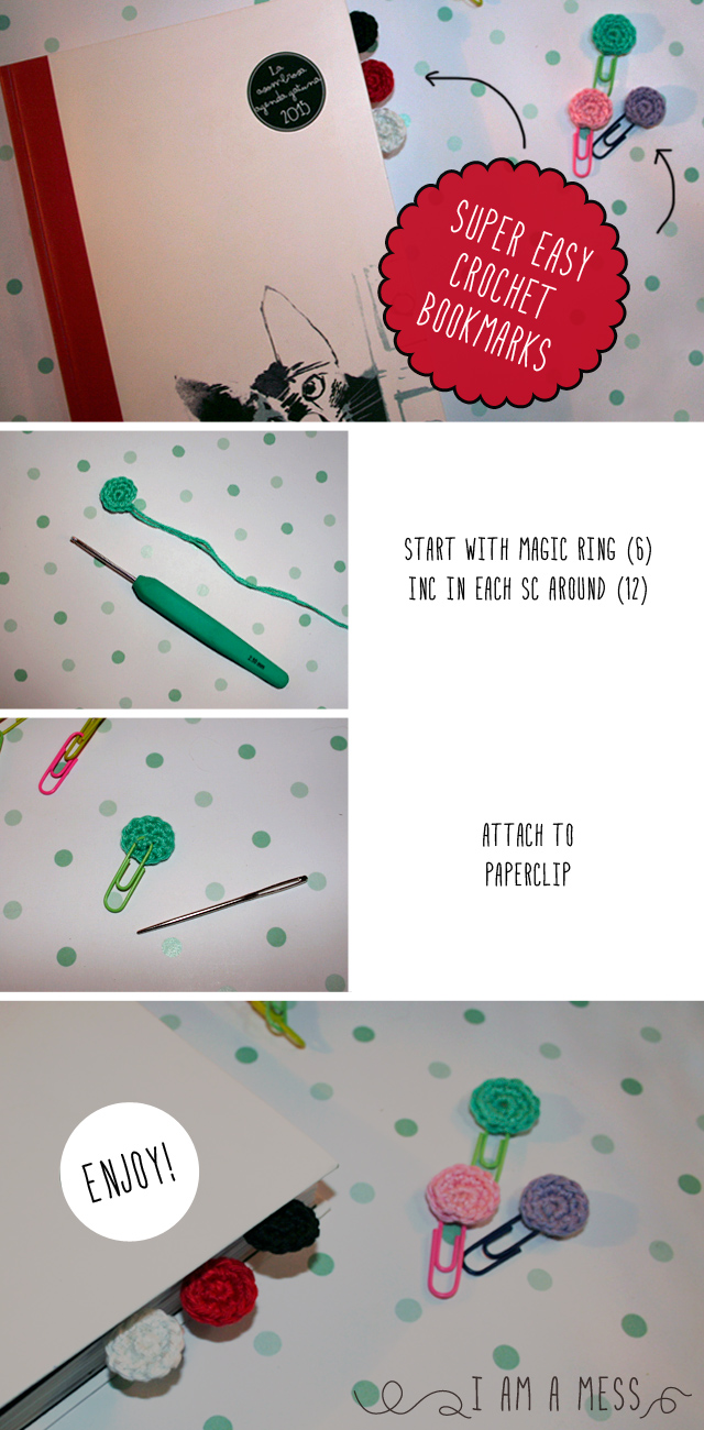 "super easy crochet  bookmark by ""I am a Mess"""