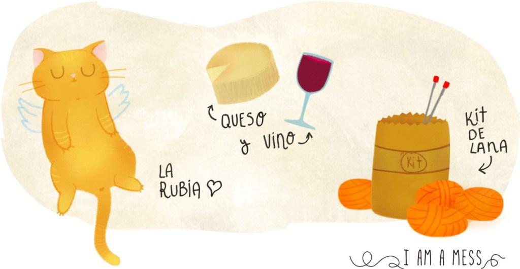 excusas ilustradas, rubia, queso, vino y kit lanero