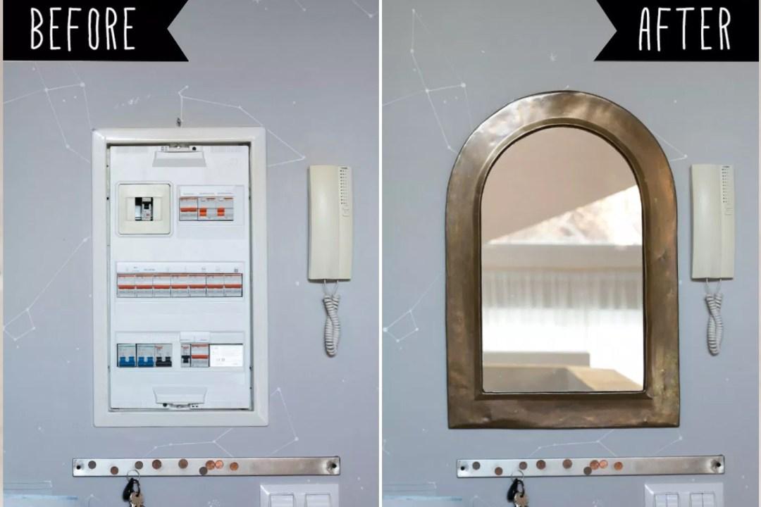 Espejo de la entrada en VillaDesastre para tapar el cuadro de la luz