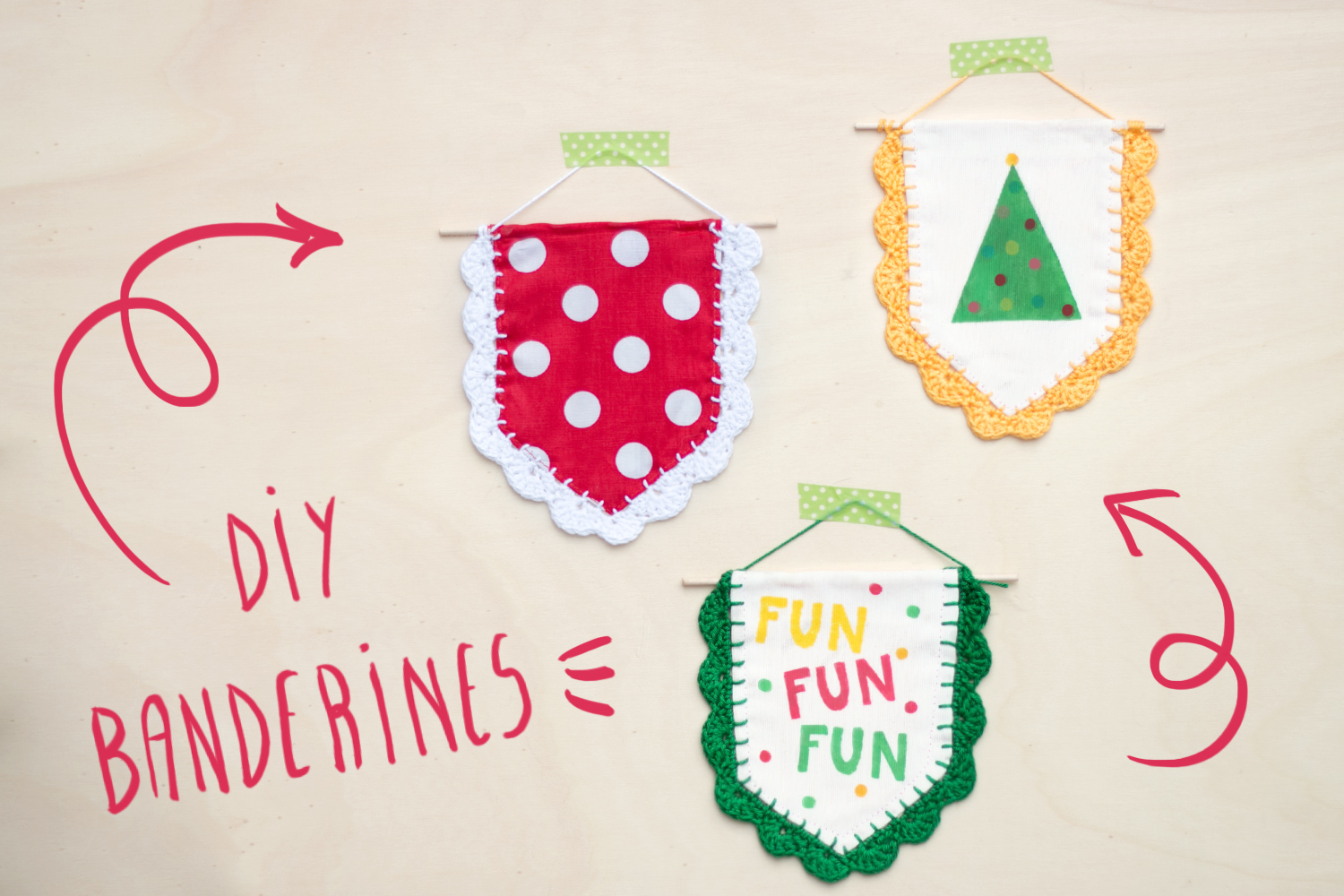 "Banderines navideños con ganchillo, visto en ""I am a Mess Blog"""