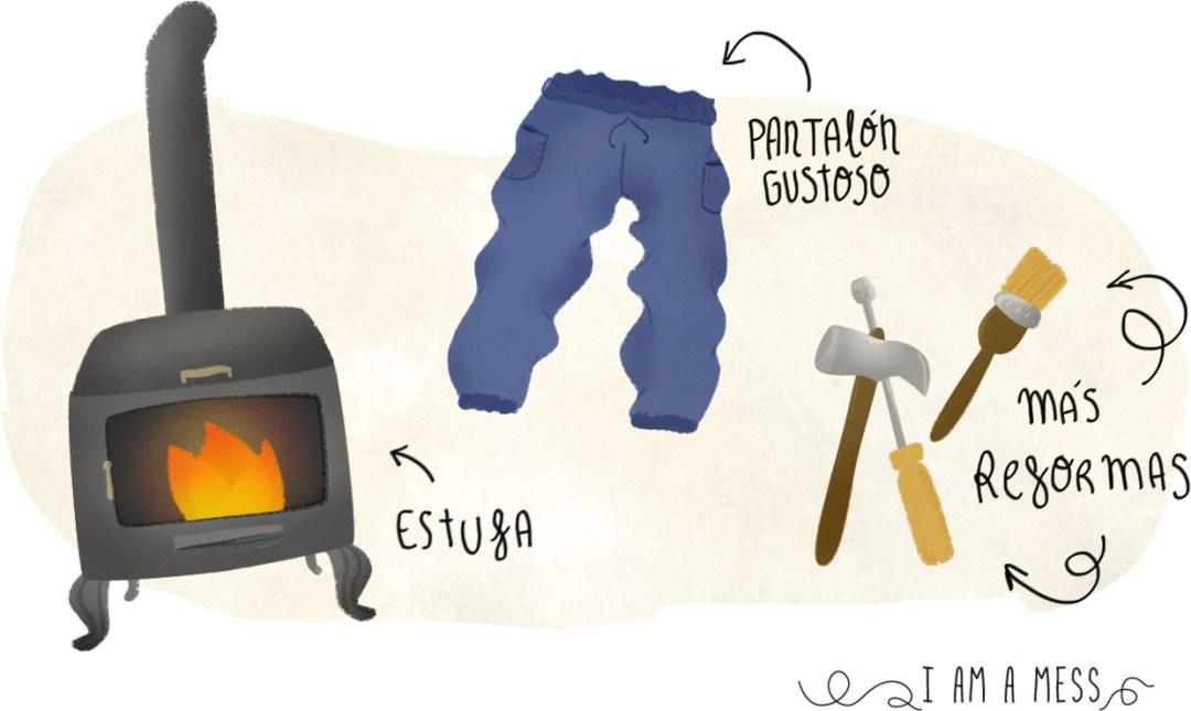 excusas ilustradas, estufa, pantalon gustoso y reformas