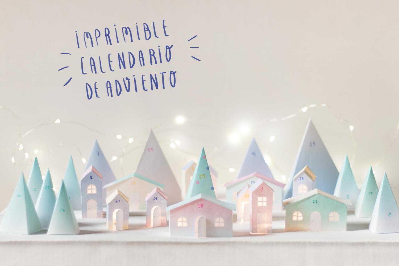 Calendario de adviento imprimible pueblecito de papel - Que poner en un calendario de adviento ...