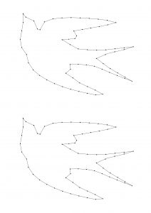 "Plantilla de golondrina para el taller de String Art, visto en ""I am a Mess Blog"""