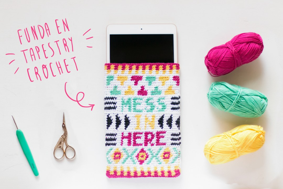 "Funda en tapestry crochet visto en ""I am a Mess Blog"""