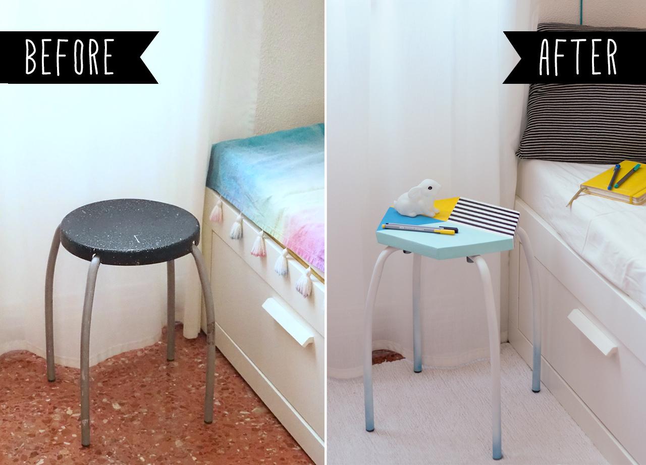 Antes y Después de un taburete renovado, visto en
