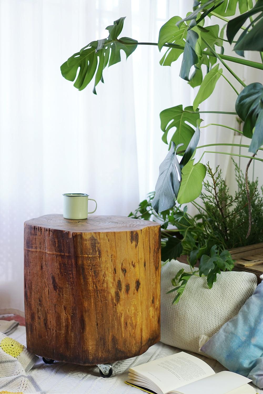"""Cómo hacer una mesa con un tronco, visto en """"I am a Mess Blog"""""""