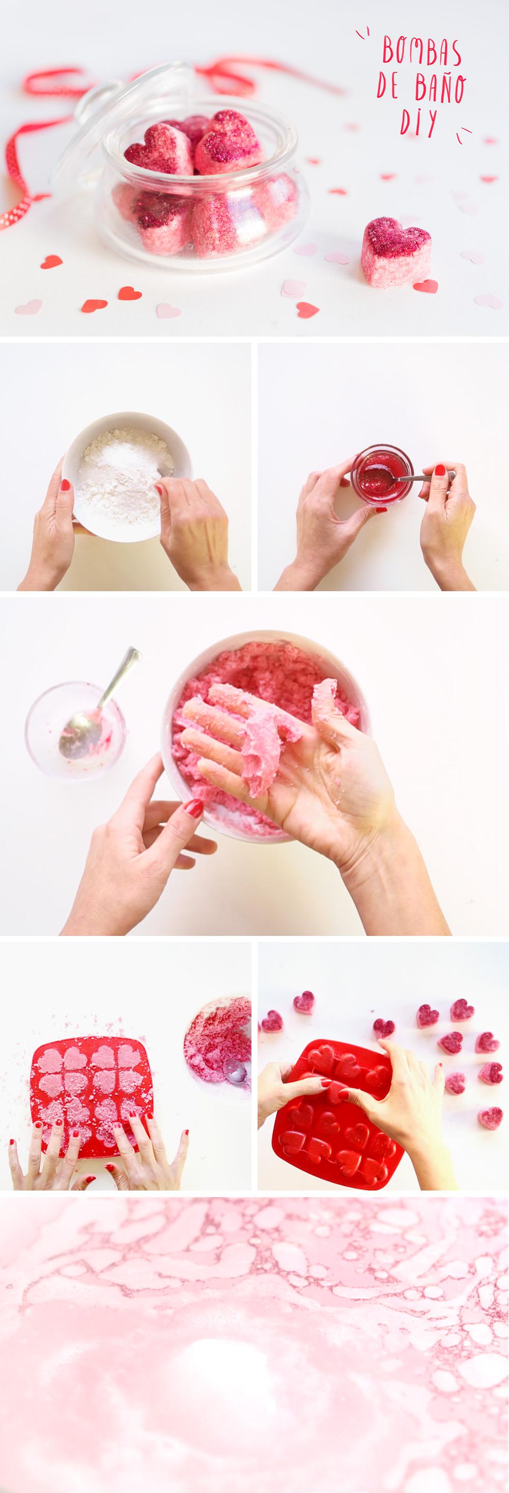 Cómo hacer bombas de baño efervescentes ¡versión San Valentín! Viso en